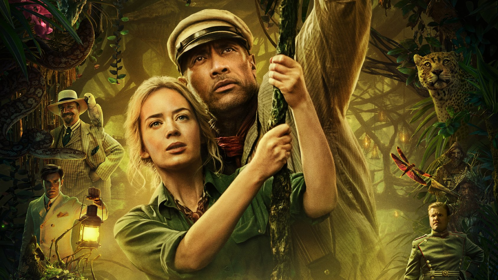 Emily Blunt and the Rock on the Jungle Cruise poster.